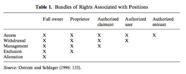 property roles and bundles of rights - Ostrom